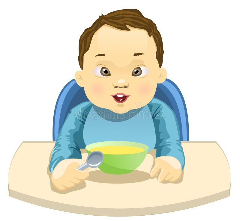 Enfant mangeant son repas illustration stock