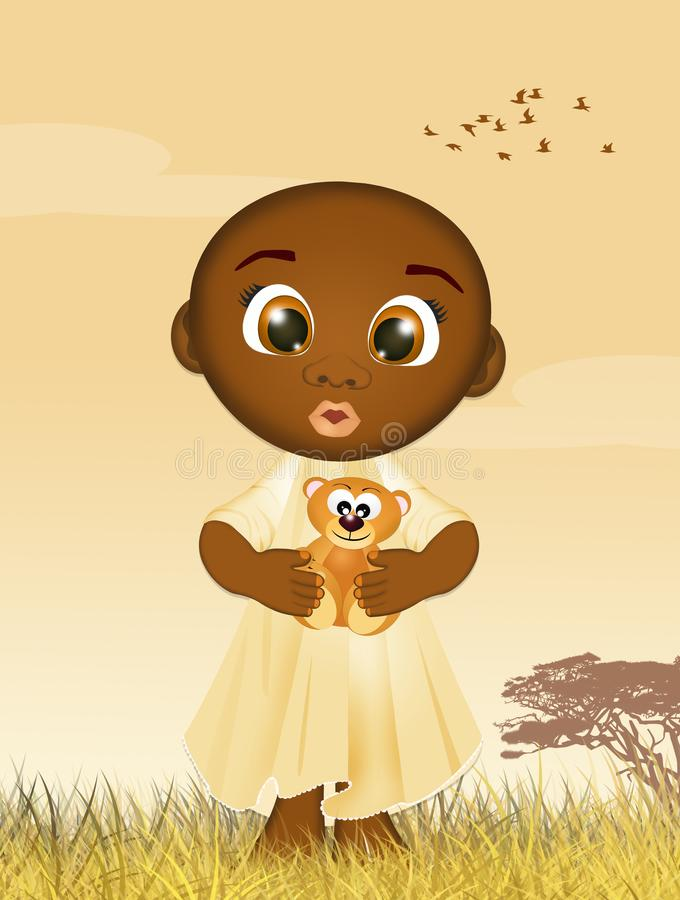 Enfant noir avec l'ours de nounours illustration de vecteur