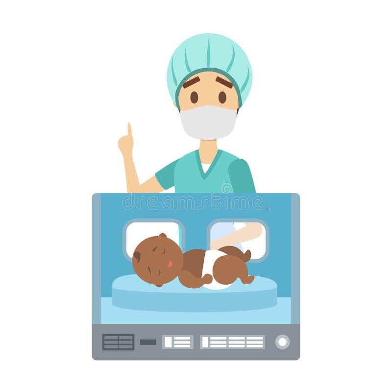 Enfant nouveau-né dans la boîte d'incubateur d'hôpital illustration de vecteur
