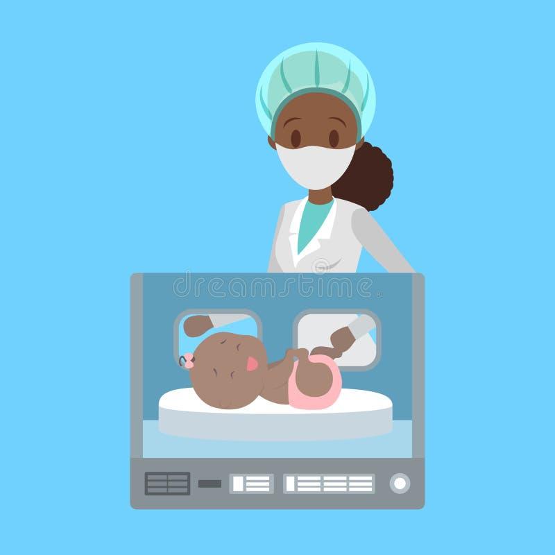 Enfant nouveau-né dans la boîte d'incubateur d'hôpital illustration libre de droits