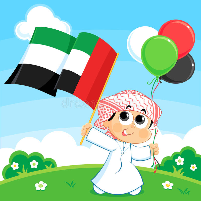 Enfant portant le drapeau des Emirats Arabes Unis illustration stock