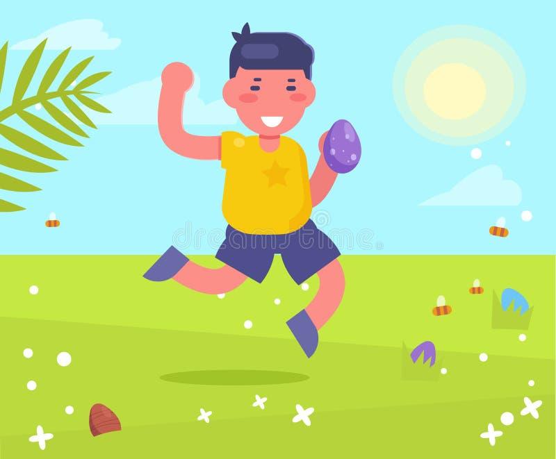 Enfant recherchant des oeufs pour le vecteur de Pâques cartoon Art d'isolement illustration de vecteur