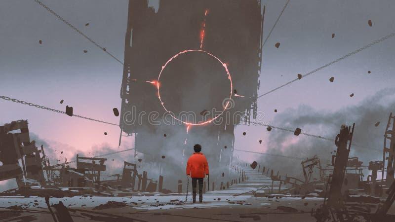 Enfant rouge cassant la vieille ville illustration de vecteur