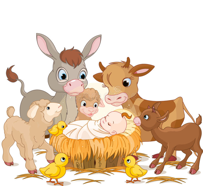 Enfant saint avec des animaux illustration stock