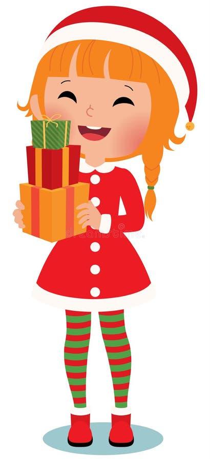 Enfant Santa Claus sur un fond blanc illustration stock