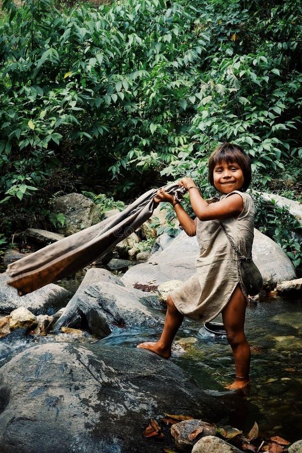 Enfant tribal de Kogi faisant la blanchisserie dans le courant voisin près de leur maison images libres de droits