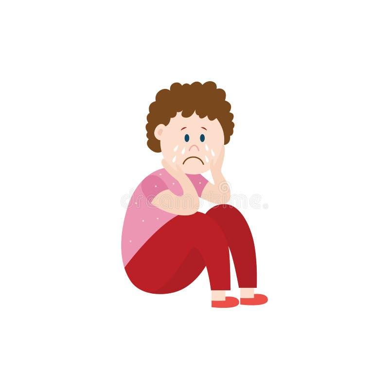 Enfant triste la victime d'intimider l'illustration plate de vecteur d'isolement sur le blanc illustration de vecteur