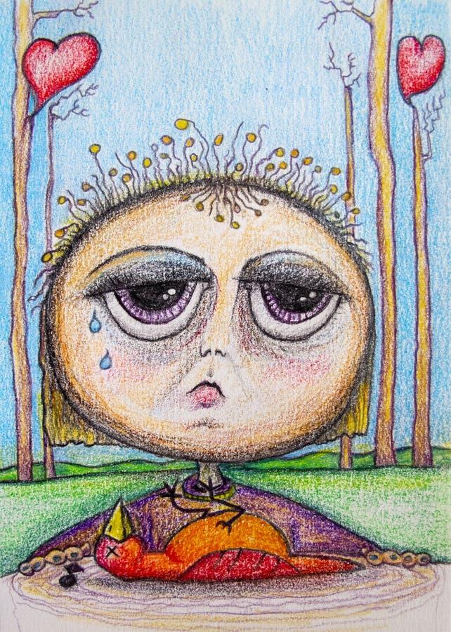 Enfant triste pleurant au-dessus du dessin mort de bande dessinée d'oiseau illustration stock