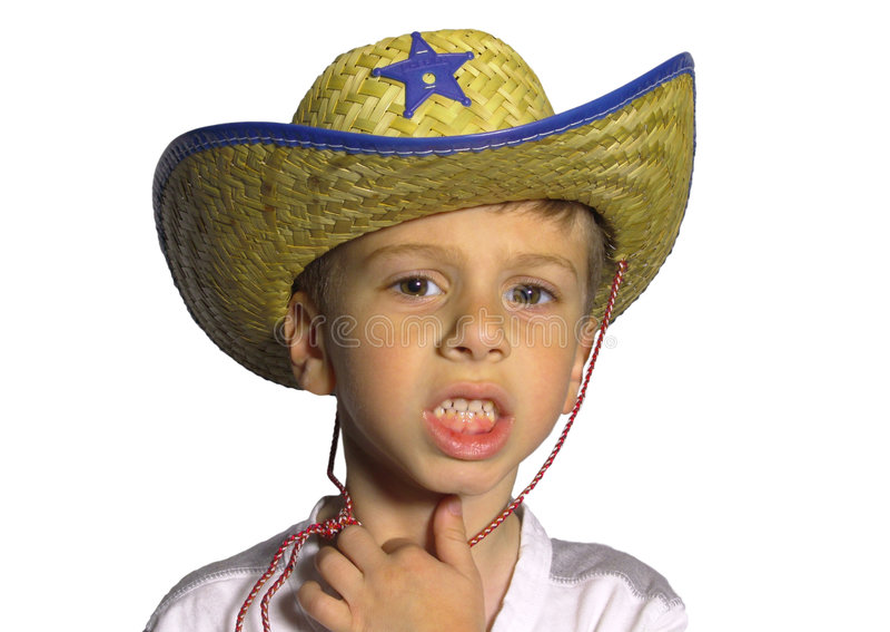 Enfant utilisant un chapeau photo stock