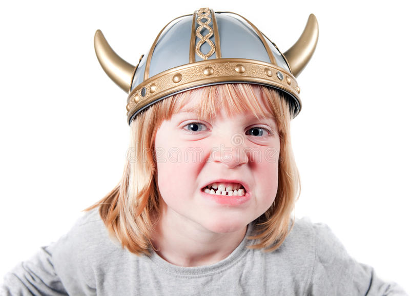 Enfant Viking fâché photographie stock libre de droits
