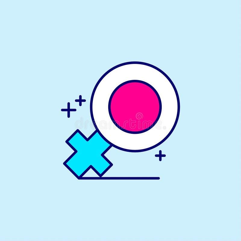 Enfantez \ 'icône bleue et rose de jour de s de couleur sur le fond bleu-clair v illustration de vecteur