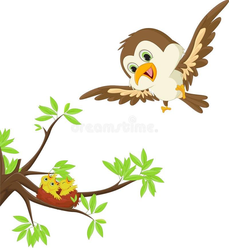 Enfantez l'oiseau avec son enfant dans le nid illustration stock