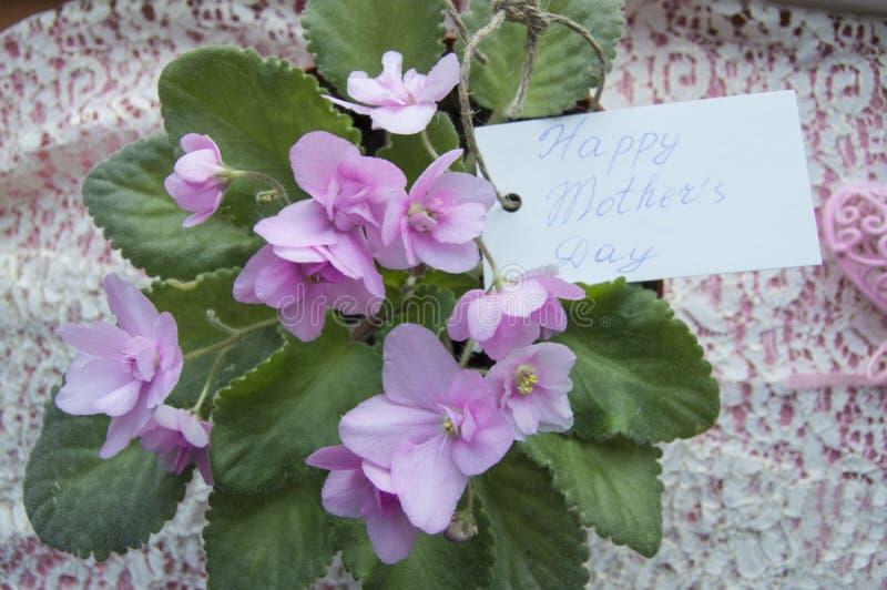 Enfantez la carte de jour du ` s avec le lettrage et les fleurs de la violette, un beau contexte pour des salutations image stock