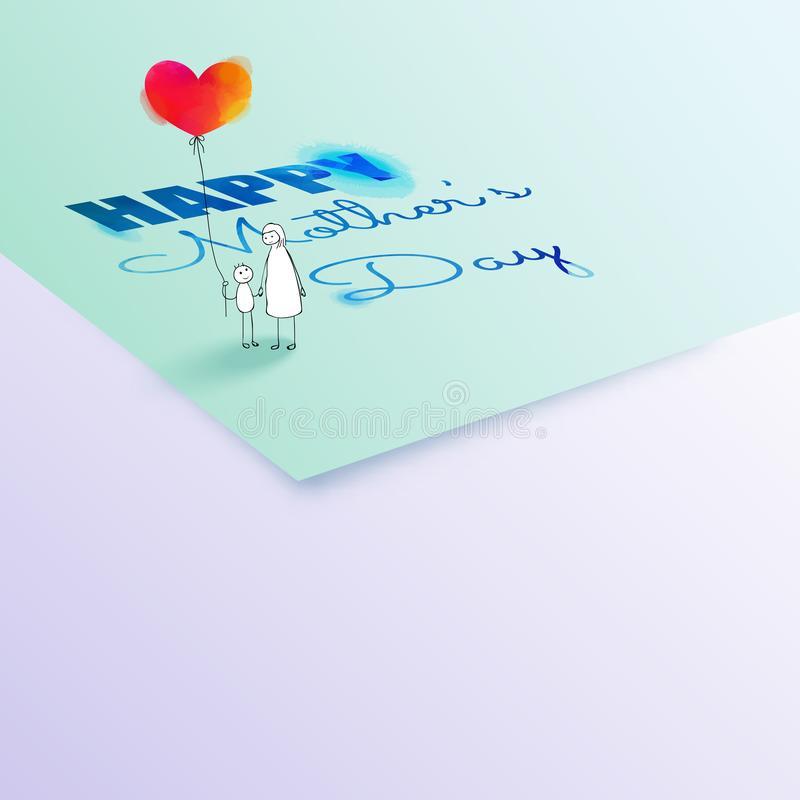 Enfantez la carte de voeux de jour du ` s avec l'espace de copie Gribouille le togather de maman et de fils avec la position roug illustration libre de droits