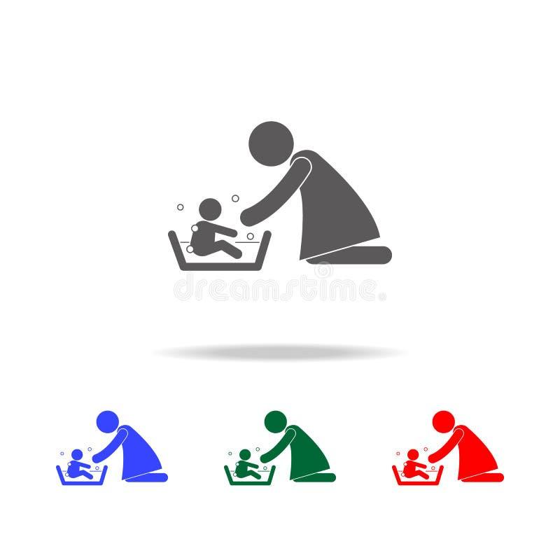 Enfantez laver son enfant 's avec l'icône d'illustration d'amour Éléments des icônes colorées multi de famille Conception graphiq illustration de vecteur