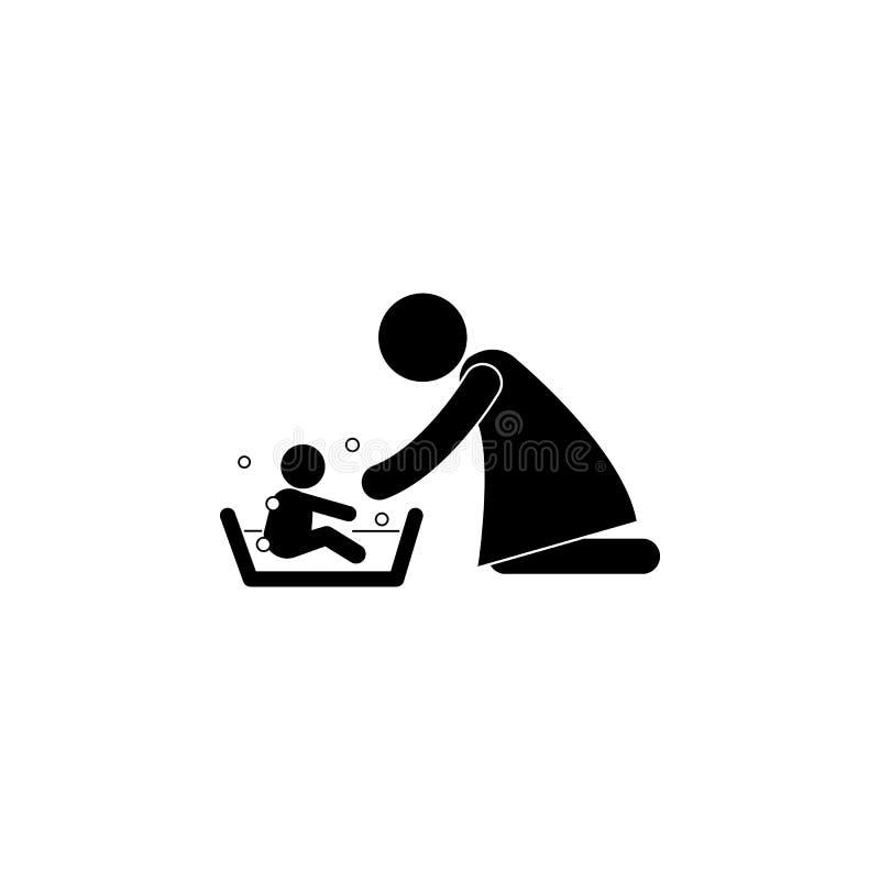 Enfantez laver son enfant 's avec l'icône d'illustration d'amour Icône noire simple de famille Peut être employé comme élément de illustration stock