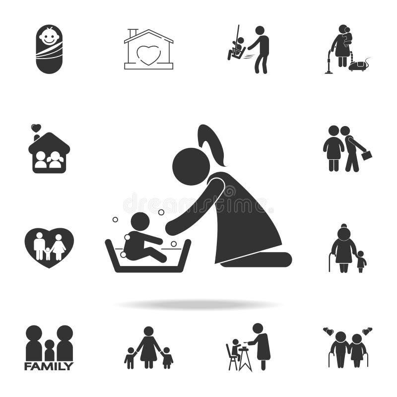 Enfantez laver son enfant 's avec l'illustration d'amour Ensemble détaillé d'icônes de pièce de corps humain Conception graphique illustration libre de droits