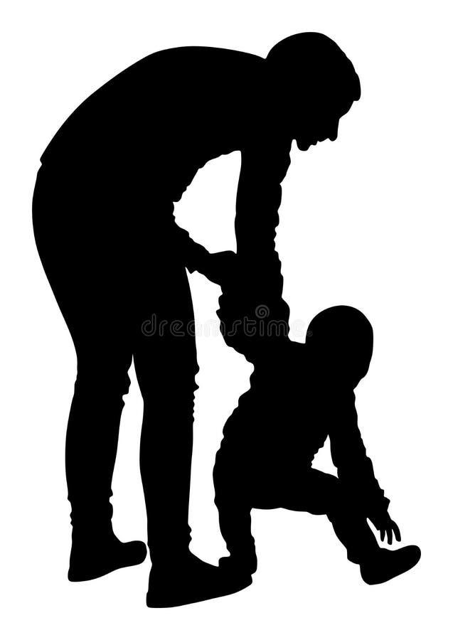Enfantez le bébé de enseignement pour marcher, diriger la silhouette Soin de babysitter, institutrice gardienne illustration stock