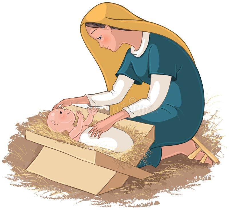 Enfantez Mary avec l'enfant Jésus dans la mangeoire illustration de vecteur