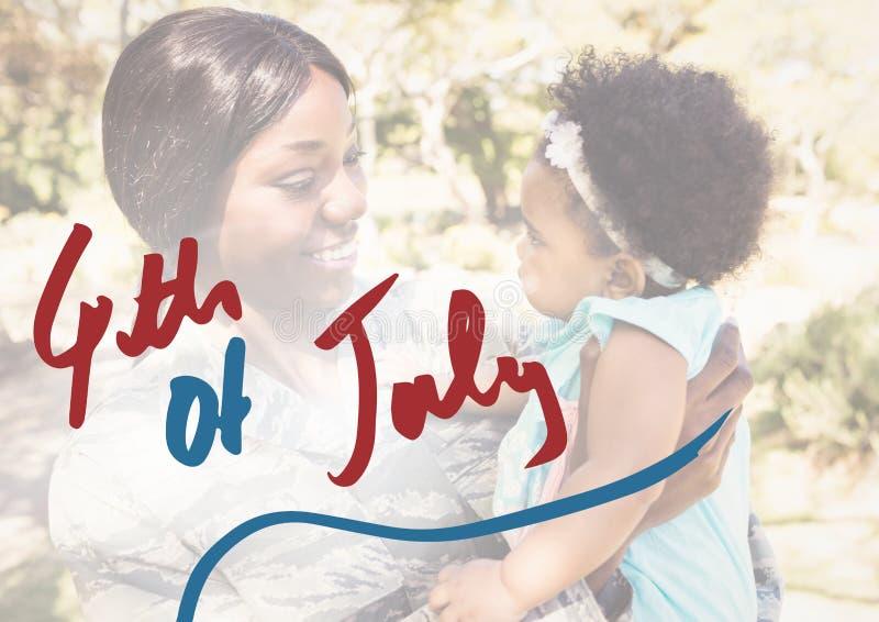 Enfantez tenir sa fille pour le 4ème juillet photographie stock libre de droits