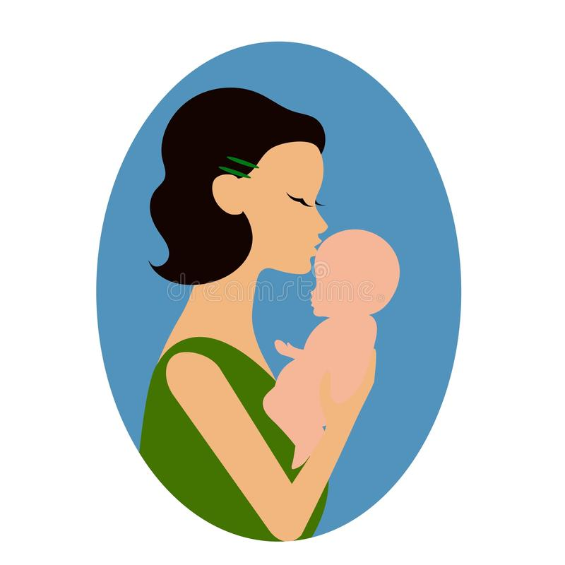 Enfantez tenir un bébé et lui donner un baiser sur le front ou la joue illustration de vecteur