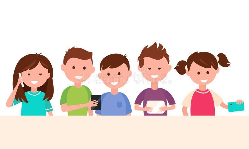 Enfants à l'aide de leurs instruments Enfants et illustration de concept de technologie illustration stock