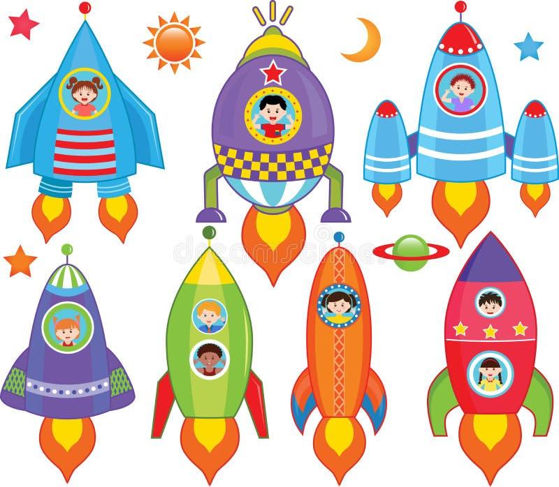 Enfants à l'intérieur de vaisseau spatial, vaisseau spatial illustration libre de droits