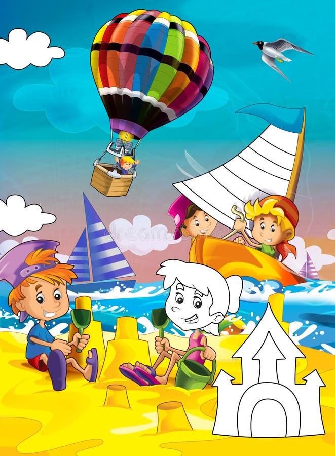 Enfants à la plage - page de coloration - illustration pour les enfants illustration de vecteur