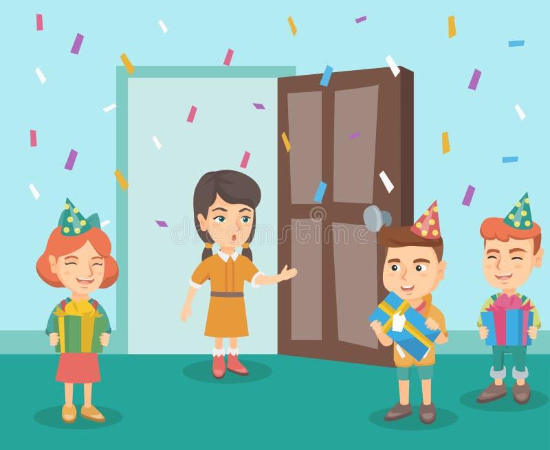 Enfants à une fête d'anniversaire de surprise de leur ami illustration de vecteur