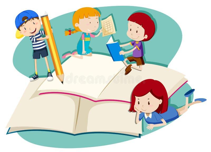 Enfants écrivant et lisant illustration de vecteur