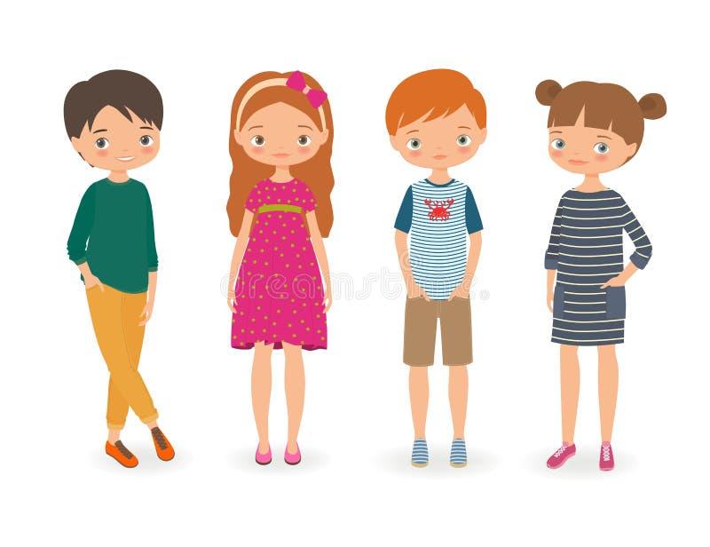 Enfants élégants de mode Illustration de vecteur de dessin animé illustration libre de droits