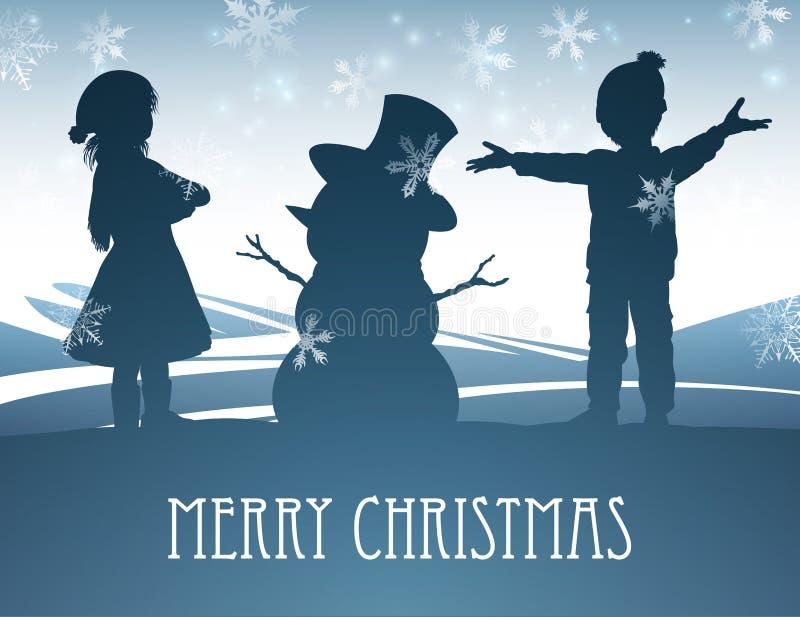 Enfants établissant la scène de Noël de bonhomme de neige illustration de vecteur