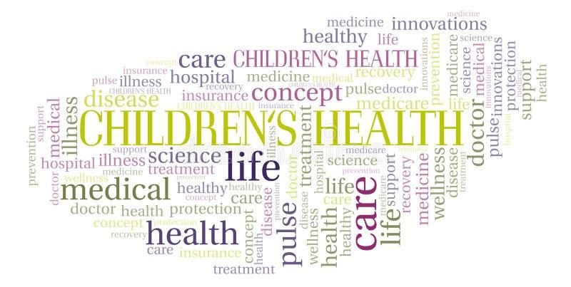 """Enfants \ """"nuage de mot de santé de s illustration stock"""