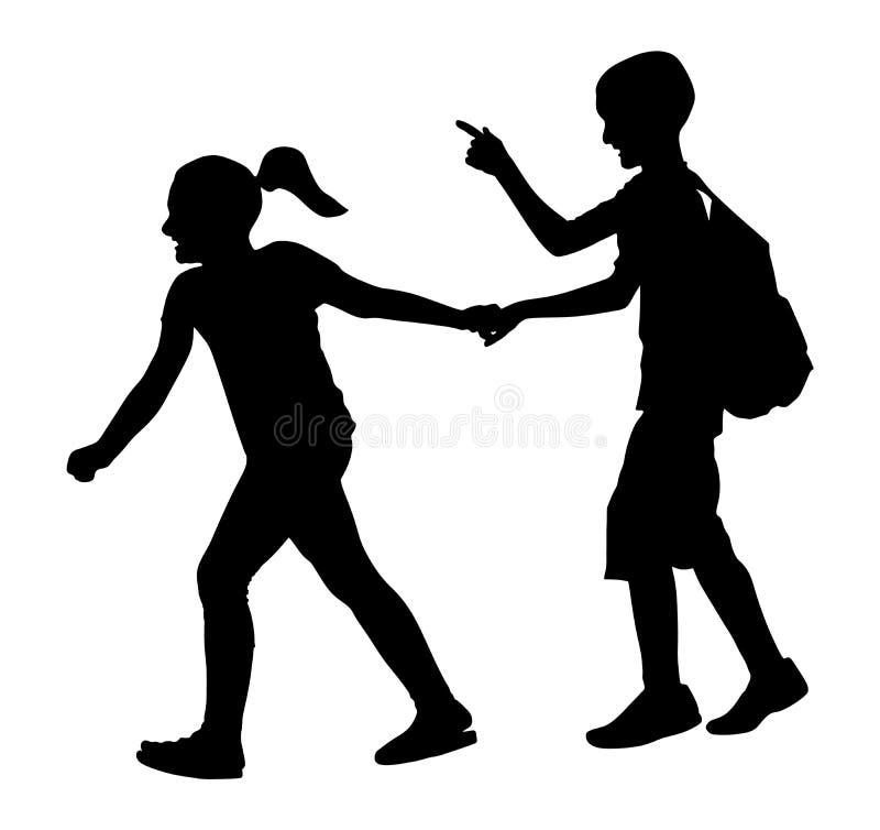 Enfants allant à l'école ensemble, silhouette Première passion Gosses heureux illustration de vecteur