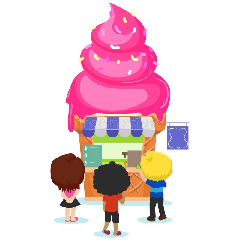 Enfants allant au magasin de crème glacée  illustration de vecteur
