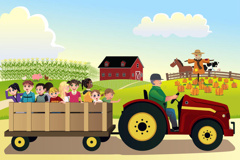 Enfants allant sur un hayride dans une ferme avec des champs de maïs dans le backgr illustration libre de droits