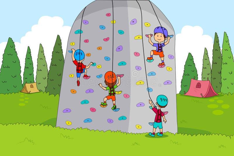 Enfants appréciant des activités d'escalade de colonie de vacances illustration libre de droits