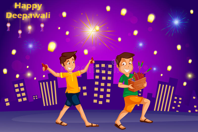Enfants appréciant le pétard célébrant le festival de Diwali de l'Inde illustration de vecteur