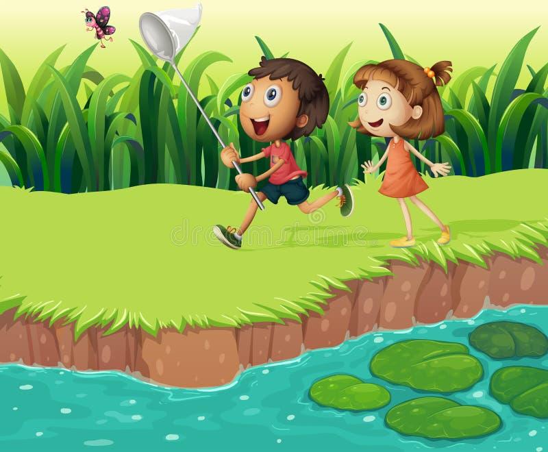 Enfants attrapant des papillons illustration stock