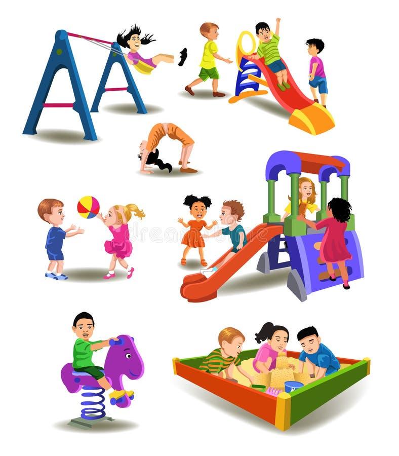 Enfants au terrain de jeu illustration stock