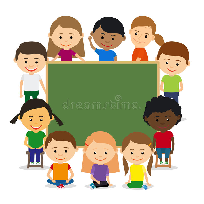 Enfants autour de tableau illustration stock