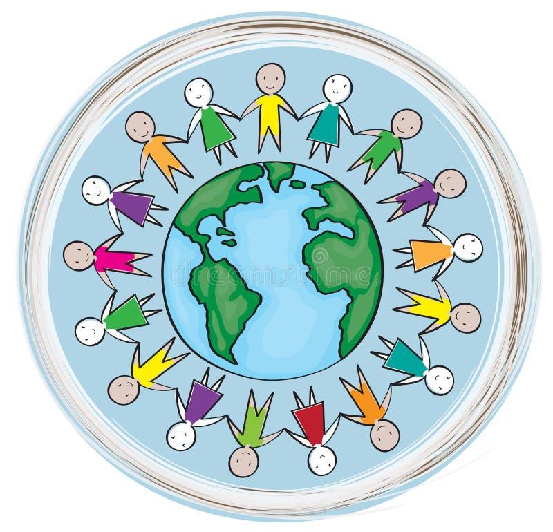 enfants autour du monde en cercle bleu illustration de vecteur illustration du main gibier. Black Bedroom Furniture Sets. Home Design Ideas