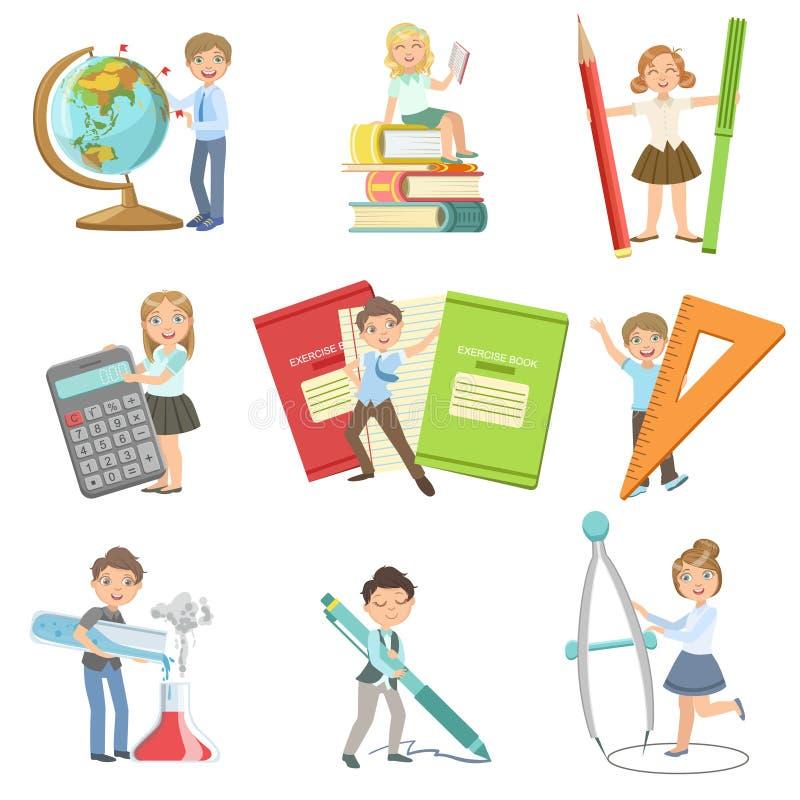 Enfants avec des attributs géants d'école illustration de vecteur