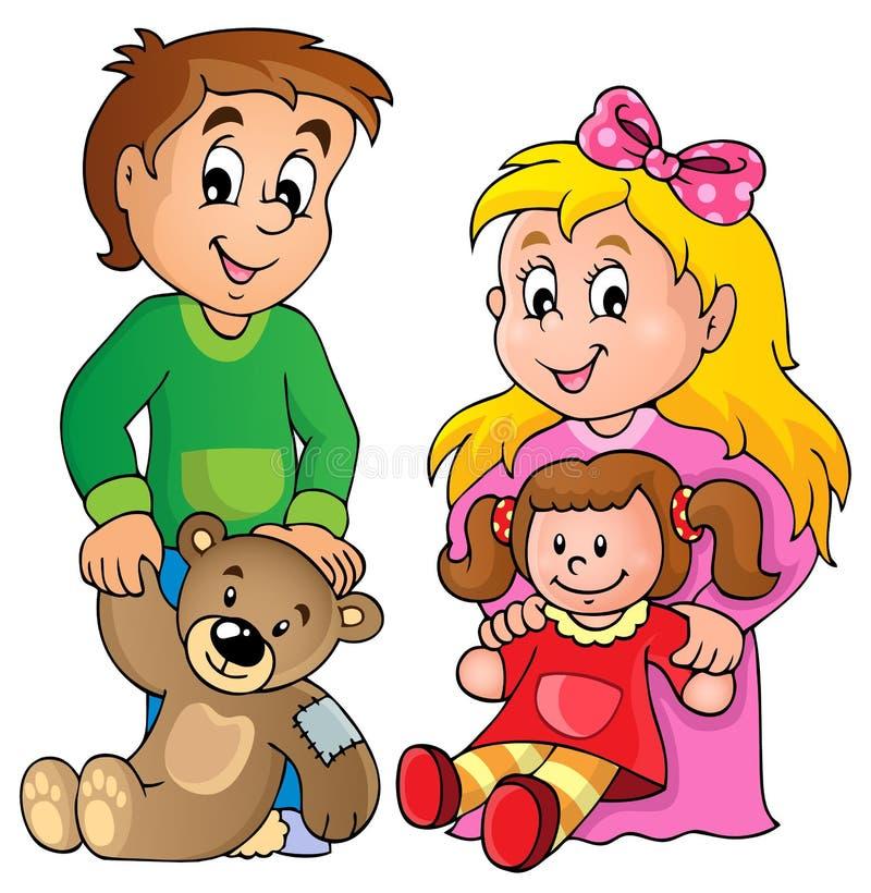 Enfants avec l'image 1 de thème de jouets illustration de vecteur