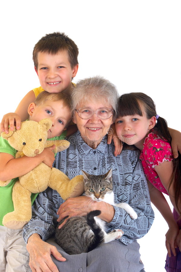 Enfants avec la grand-maman images stock