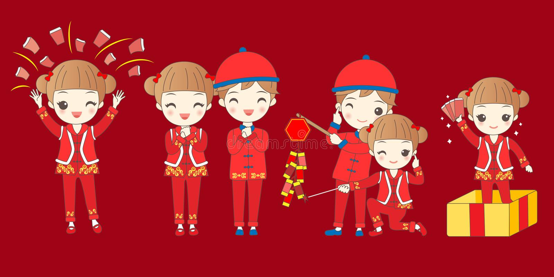 Enfants avec la nouvelle année chinoise illustration stock