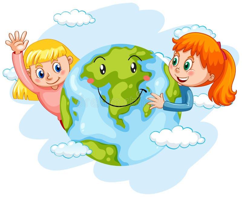 Enfants avec la terre heureuse illustration stock