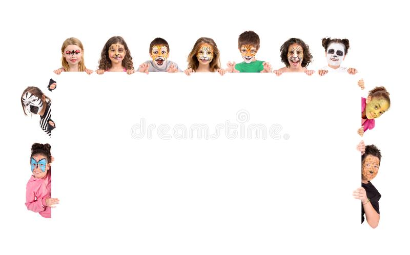 Enfants avec la visage-peinture animale images libres de droits