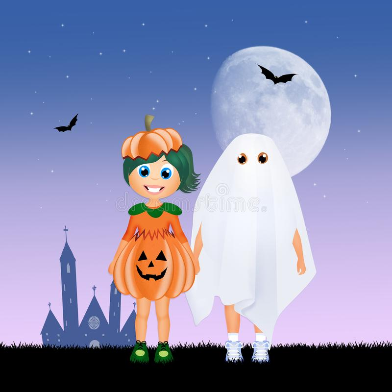 Enfants avec le costume de Halloween illustration stock