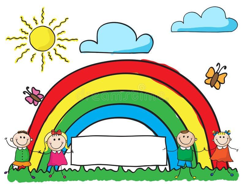 Enfants avec le drapeau illustration stock